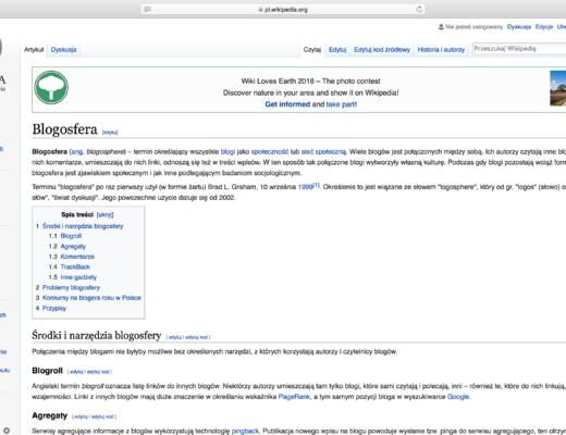 Blogosfera - definicja z Wikipedii